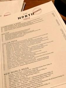 North Italia wine list