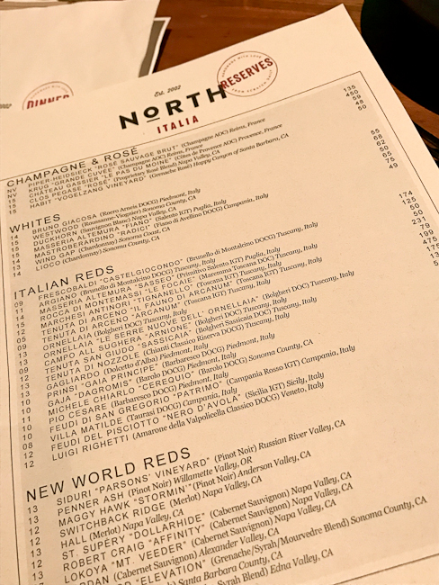 North Italia wine list