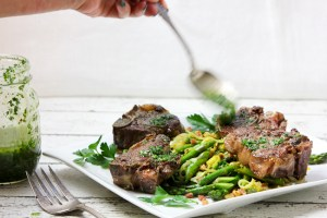 Easter Lamb Loin Chops with Asparagus