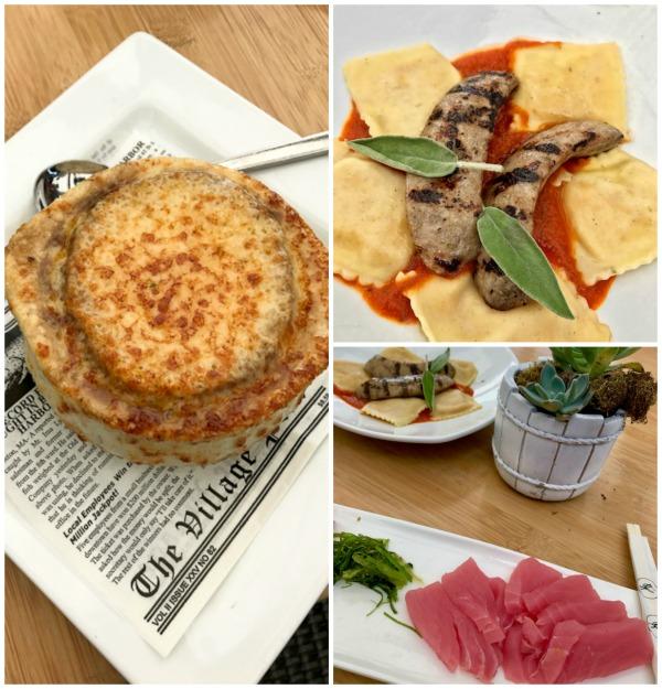 Back Bay Bistro Onion Soup, Sage Ravioli, Ahi Tuna Sashimi