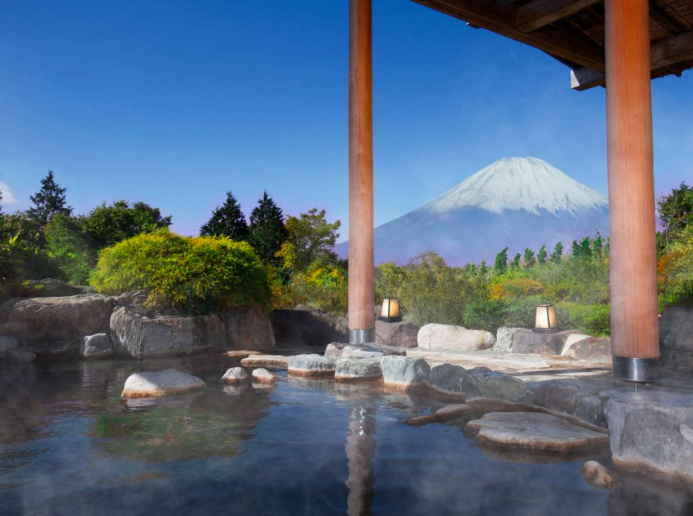 View of Mt. Fuji from Onsen at Hakone Green Plaza Hotel