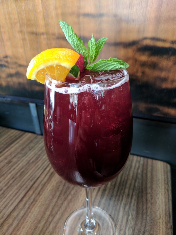 Blackberry Sangria with fruit garnish