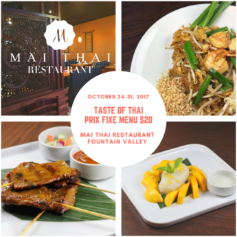 Taste of Thai special prix fixe dinner, Mai Thai Restaurant