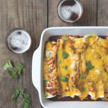 Baked Brown Ale Potato Cheddar Enchiladas from Food on Tap Cookbook