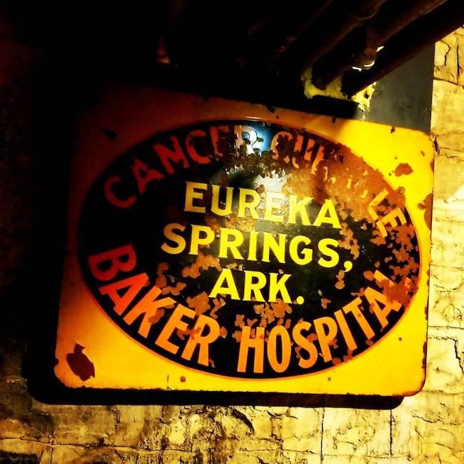 Crescent Hotel, Eureka Springs, Arkansas | Dr. Baker's Cancer Hospital sign