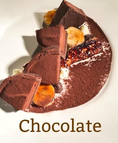 Dark Chocolate Tart, Torched Bananas and Marshmallows