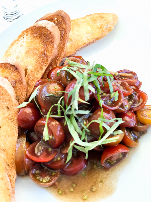 Heirloom Tomato Bruschetta, Spaghettini Seal Beach | ShesCookin.com
