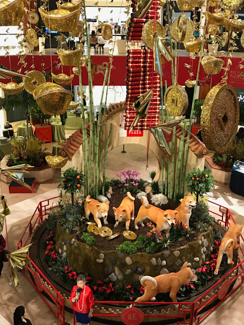 South Coast Plaza decorated for Year of the Dog celebration