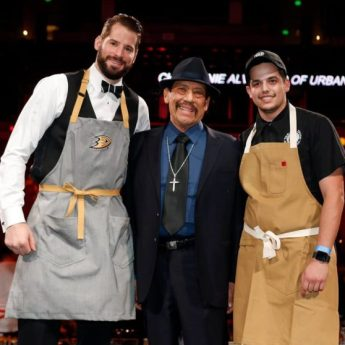 Anaheim Ducks Ryan Kesler, Actor Danny Trejos, Trejos Tacos Chef Mason Royal at Dux In Tux 2018