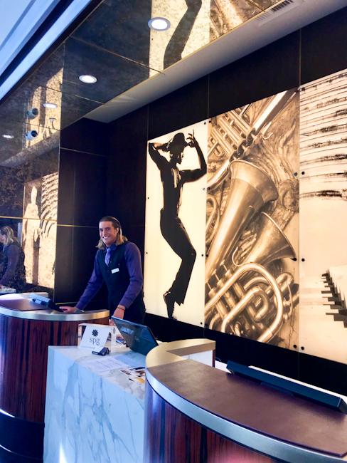Reception area at Avenue of the Arts Hotel, Costa Mesa, California