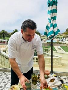 Chef Donald Lockhart presents roasted beet hummus