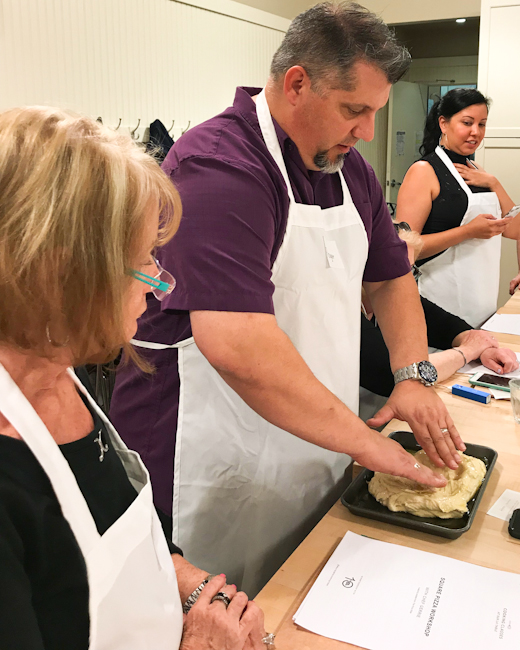 learning to make pizza dough, cooking class at sur la table