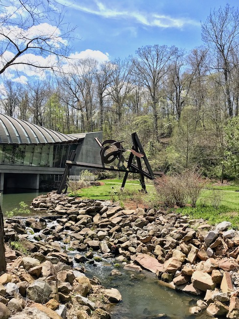 Outdoor sculpture in the Ozark forest at Crystal Bridges Museum of American Art