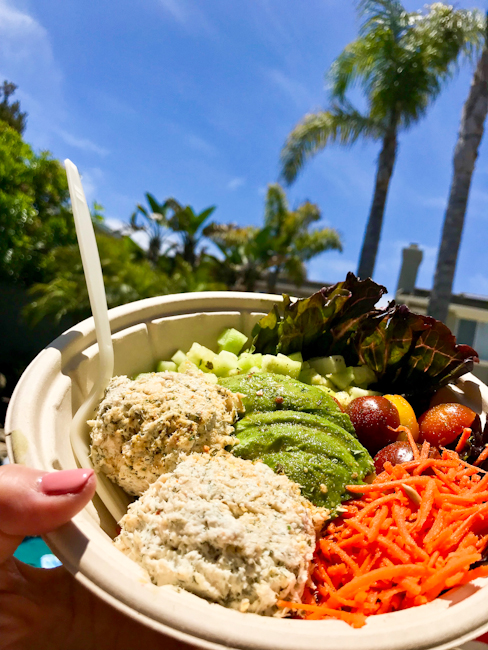 Protein bowl with palm trees in background