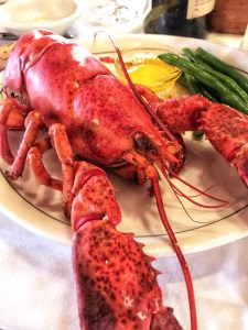 Maine Lobster on a plate with butter and green beans