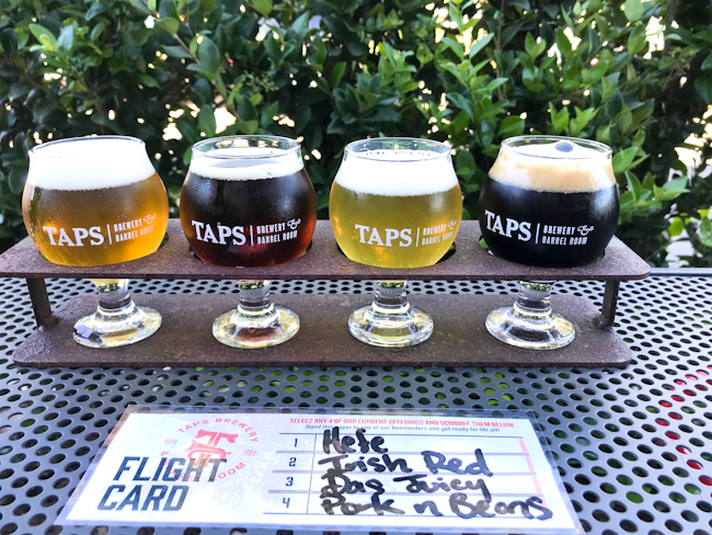 Beer flight at TAPS Brewery and Barrel Room