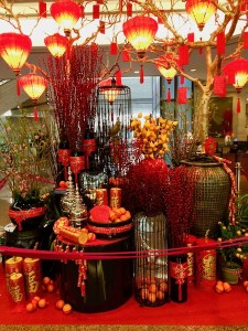 Chinese New Year decorations in hotel lobby