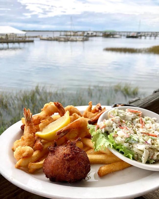 St. Augustine fried shrimp with fries and cole slaw and a view of the Matanzas River