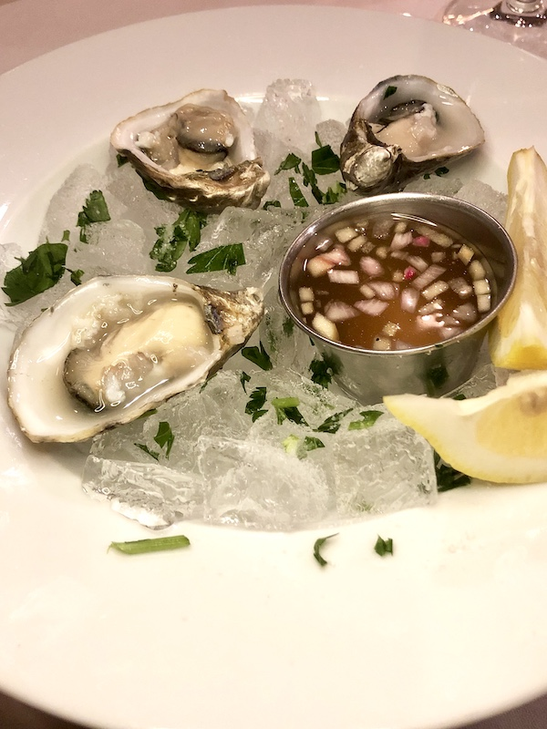 Oysters with mignonette at Dundee Bistro, Dundee, Oregon