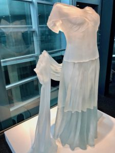 What to do in the Finger Lakes, evening dress with shawl sculpture, Corning Museum of Glass