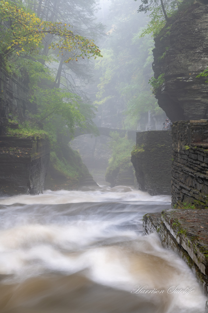 Mist over water at Robert H. Treman State Park, waterfalls in the finger lakes region