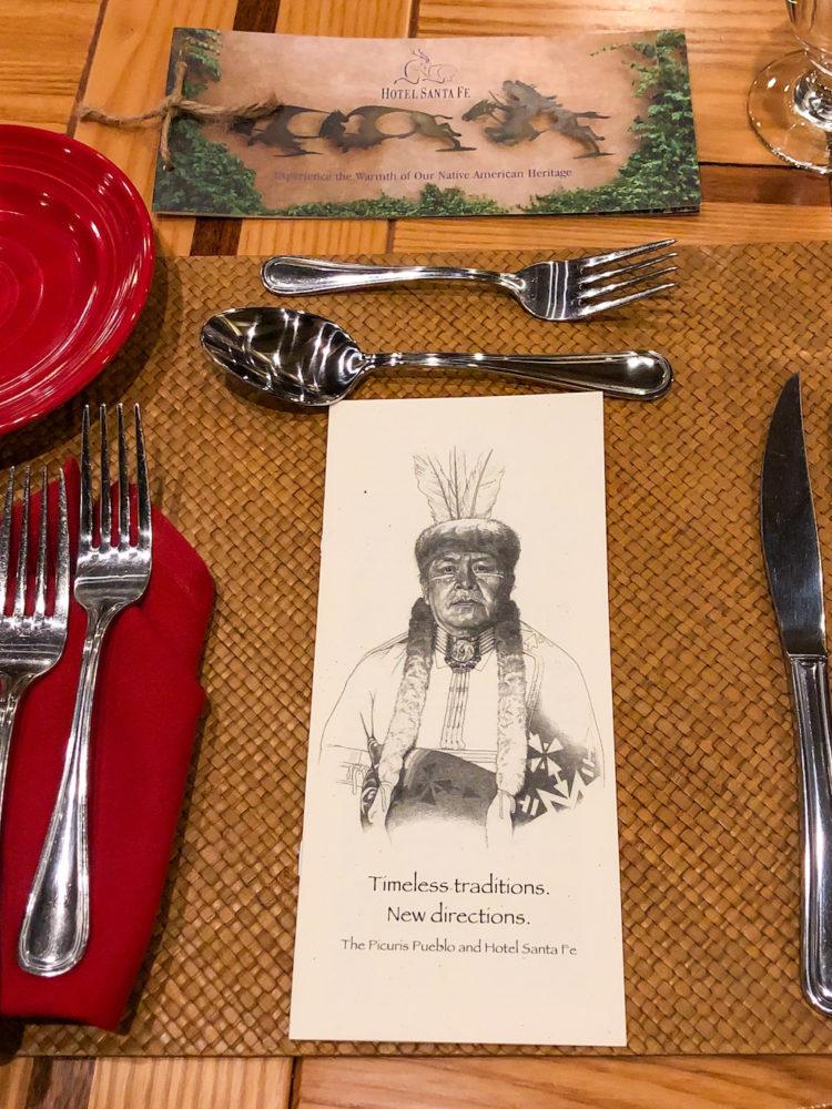 Table setting at restaurant Amaya, Hotel Santa Fe