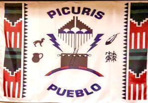 Native American pueblo culture, Hotel Santa Fe woven tapestry of the Picuris Pueblo banner