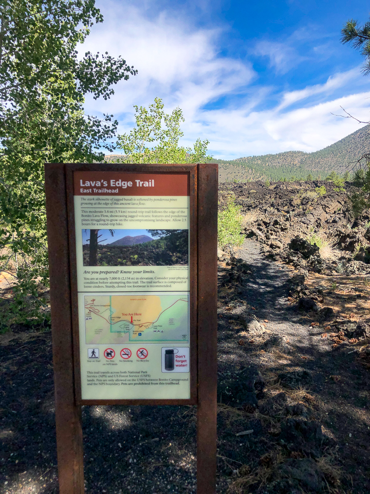 Lava Flow Trail sign at Sunset Crater, Flagstaff, Arizona