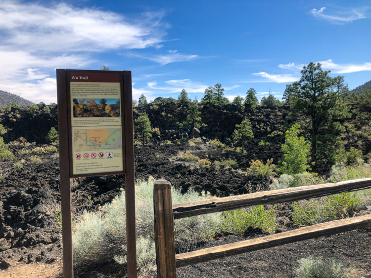 A'a Trail sign at Sunset Crater, Flagstaff, Arizona