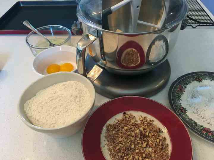 ingredients for cookies and  KitchenAid mixer
