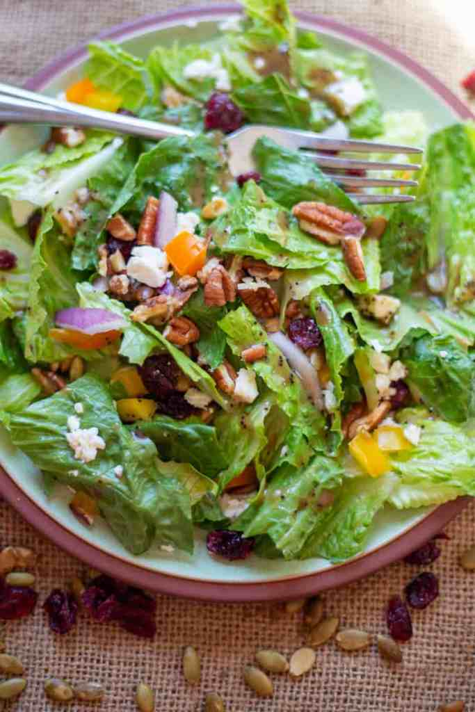 the salad on green plate with fork