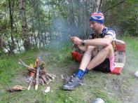 Man makes fire