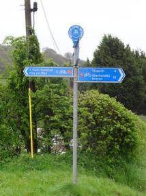 The split in the Lon Las Cymru, near Hay on Wye