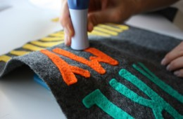 Banner made from felt with raised letters