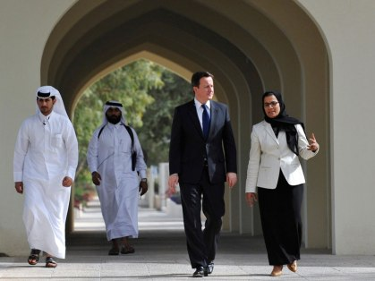 David Cameron arrives at Qatar University 2011