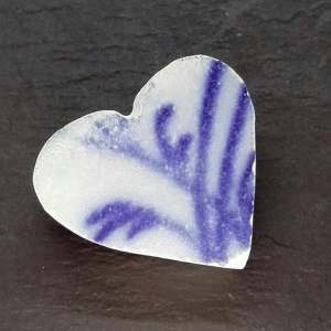 Sea Pottery Violet Heart Shaped Brooch