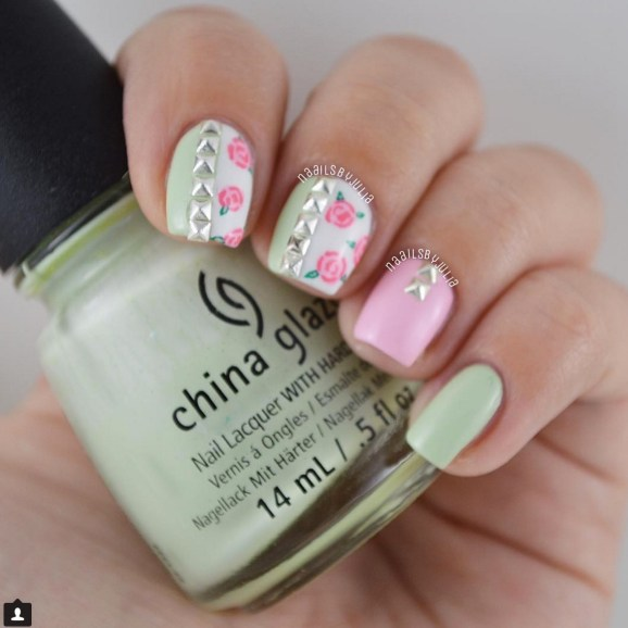 Gel Nail Designs and More: Girly Stud Nail Art