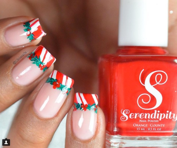 Winter Nail Designs: Candy Cane Christmas Nail Art