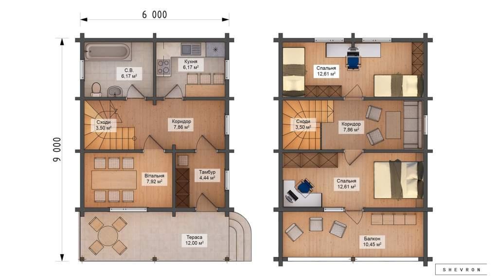 D004 Проект деревянный дом, строительство дома из бруса, сруба