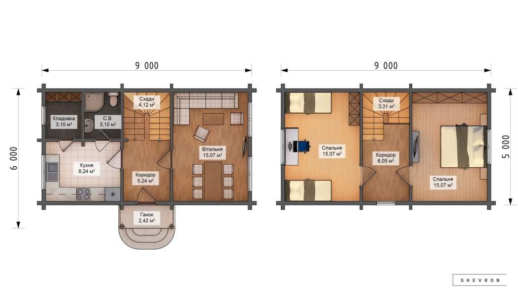 Проект деревянный дом, строительство дома из бруса, сруба D040