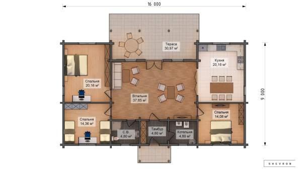 Проект деревянный дом, строительство дома из бруса, сруб. из дерева, деревянный дом цена план дома D058