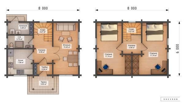 План Строительство деревянный дом из бруса сруб из дерева деревянный цена купить D006