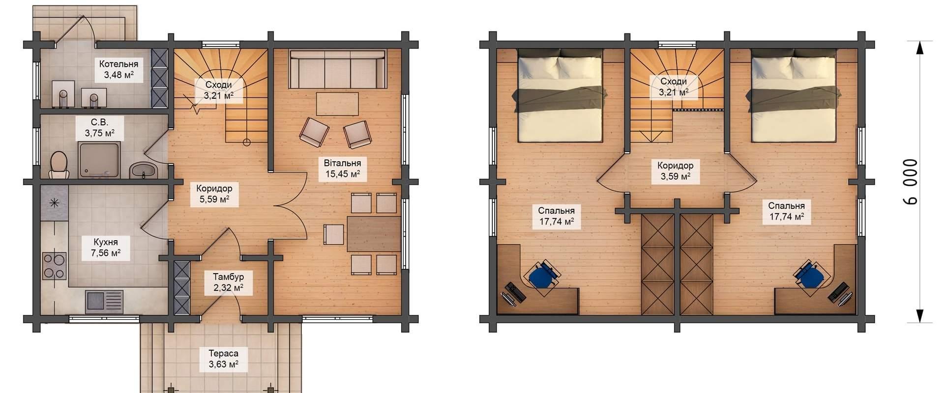 Строительство,деревянный дом «Байкал D006» под ключ,дом из бруса D006,дом из дерева