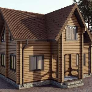 Строительство деревянного дома по проекту Волынь D016
