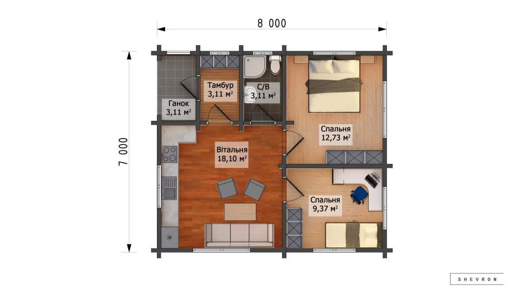 План Строительство деревянного дома по проекту Днестр D020