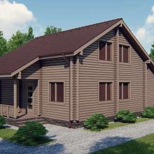 Строительство деревянного дома по проекту Элегант D022