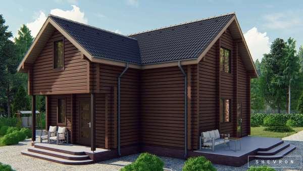 Строительство деревянного дома по проекту Житомир D023