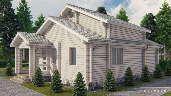 Строительство деревянного дома по проекту Западный Буг D025