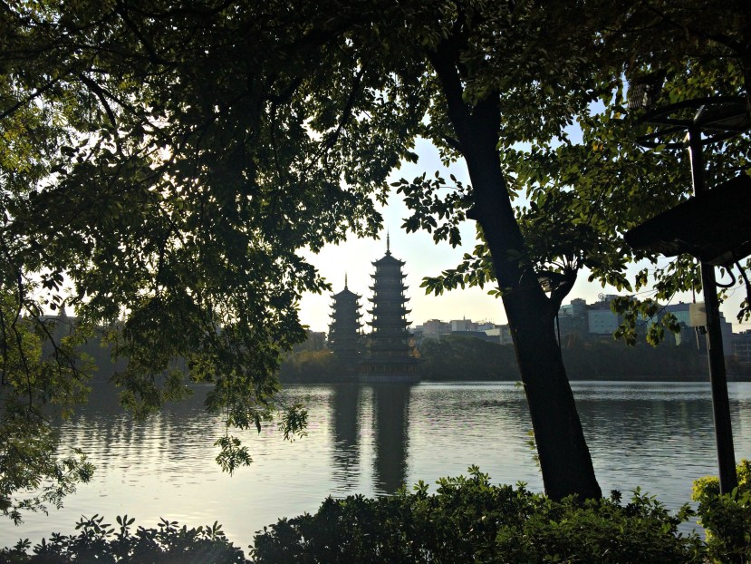 Sun Moon Pagoda, Guilin, China.