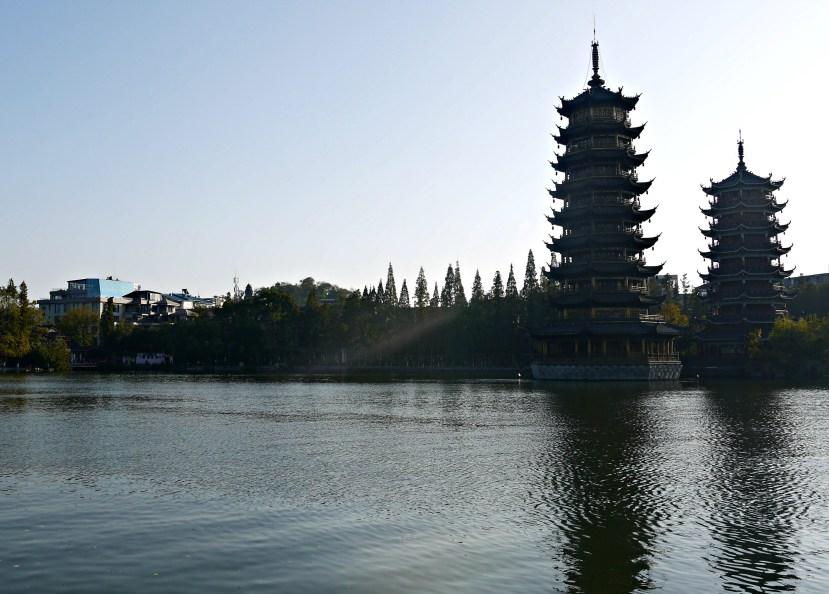 Sun Moon Pagoda, Guilin, China.